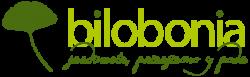 Logotipo de Bilobonia, jardinería, paisajismo y poda